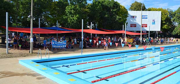 Student house groups in swimming carnival